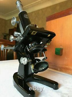 Vintage C. Baker Microscope with Mechanical Stage & Watson Lens, Cased c1950