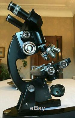 Vintage Cooke Troughton & Simms Binocular Microscope, Broad Arrow, Watson Lens