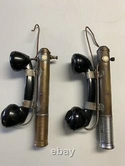 Vintage Industrial Linemen Telephones Battery Operated Work Shop Made Rare