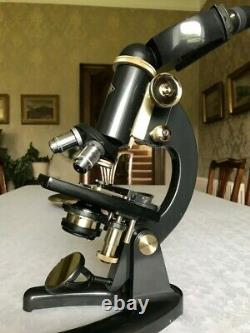 Vintage Prior Binocular Microscope in Brass with Mechanical Over-stage, c1960s
