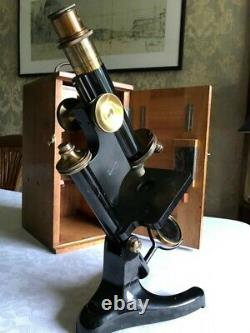 Vintage R & J Beck Model 22 Brass Monocular Microscope circa 1920, Cased