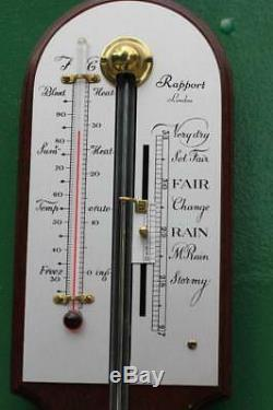 Vintage Rapport London Mahogany Stick Barometer Thermometer