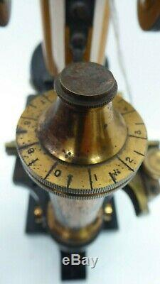 Vintage Science Lab Microscope Ross Brass Antique Army Military Broad Arrow