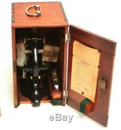 Vintage W. R. Prior & Co Microscope in Mahogany Case c1930s 5422