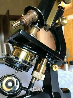 Vintage W. Watson & Sons Brass Kima Microscope in Original Case circa 1934