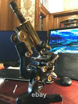 Vintage W. Watson & Sons Ltd Bactil Monocular Microscope in Brass c1927, Cased