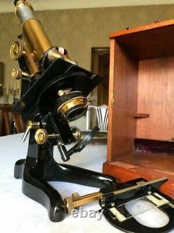 Vintage W. Watson & Sons Ltd Bactil Monocular Microscope in Brass c1936, Cased