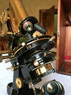 Vintage W. Watson & Sons Ltd Brass Patna Monocular Microscope c1942, Cased