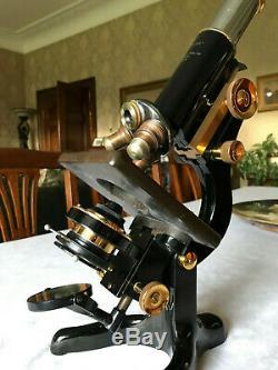 Vintage W. Watson & Sons Ltd Brass Service Microscope, Cased circa 1941