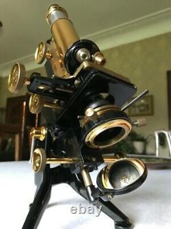 Vintage W. Watson & Sons Ltd Edinburgh Student's Stand-H Microscope c1933, Cased