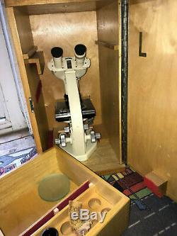 Vintage Watson Bactil Binocular All-Original Technical Microscope, Cased c1962