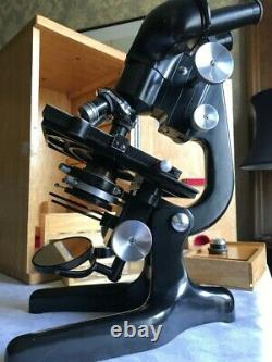 Vintage Watson Bactil High-Power Binocular Microscope circa 1960, Cased