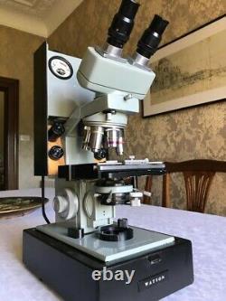 Vintage Watson Microsystem 70 Microscope, 6 Objectives, Kohler Illuminator, Case