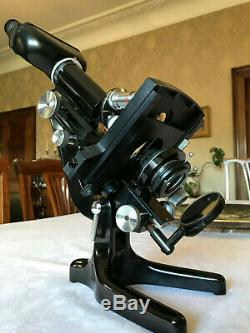 Vintage Watson Service II Microscope Rare Binocular Head, Mech Stage c1953 Cased