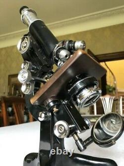 Vintage Watson Service Microscope with Mechanical Over-stage, circa 1939, Cased