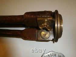 Vtg Surveyors Transit Tripod Stand Wood Brass 51 Antique Brunson Instrument Co