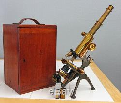 W. WATSON & SONS LONDON ANTIQUE BRASS EARLY ROYAL MICROSCOPE WithCASE SN3321, 1894