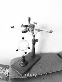 X ray tube Crookes tube antique with laboratory wood stand! Rare nice medical